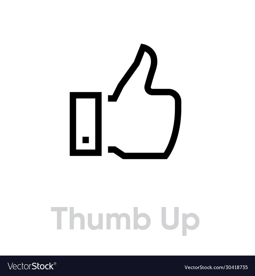 Thumb up hand gesture icon editable line