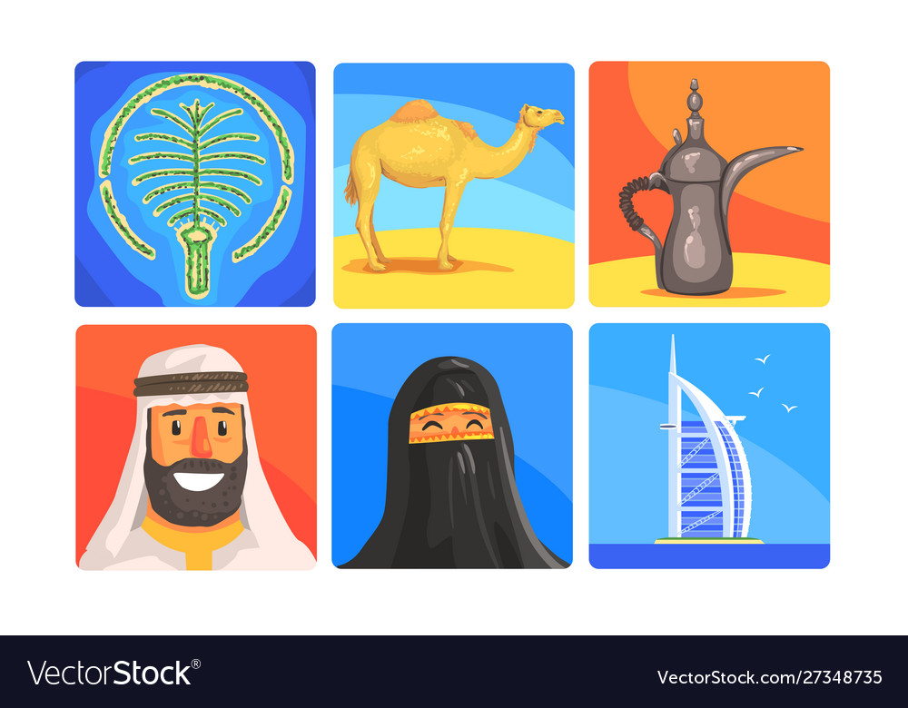 United arab emirates symbols set people in vector