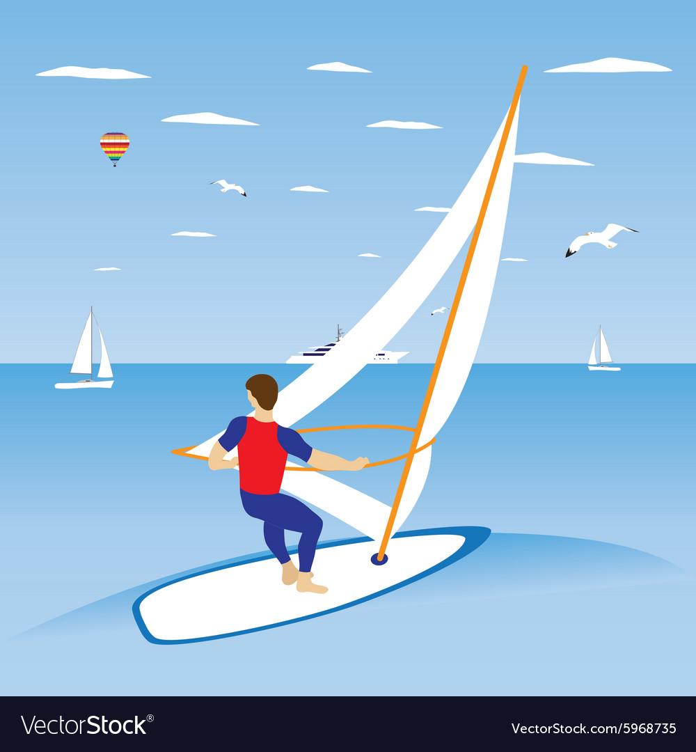 Windsurfer on ocean wave
