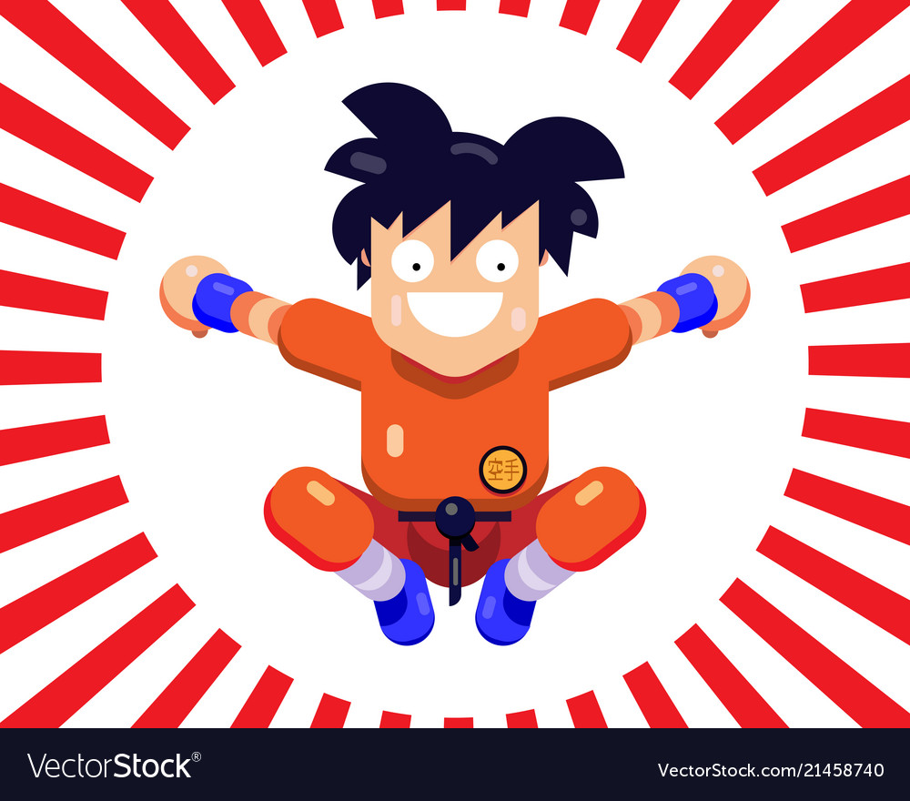 A cheerful little man karate in a jump