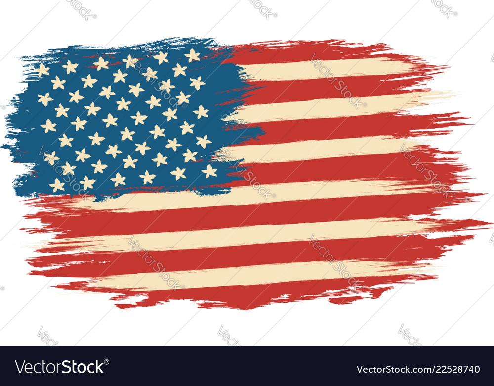 American flag in retro style