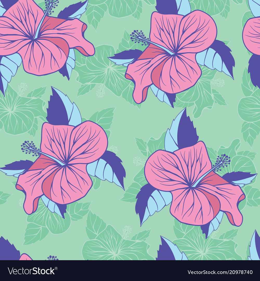 Flowers hibiscus exotic seamless decorative
