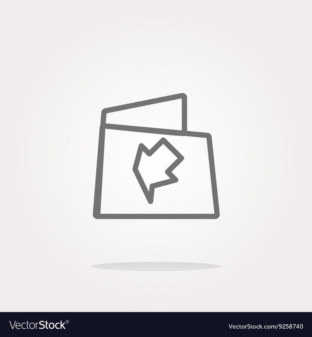 Folder icon web button with map isolated on
