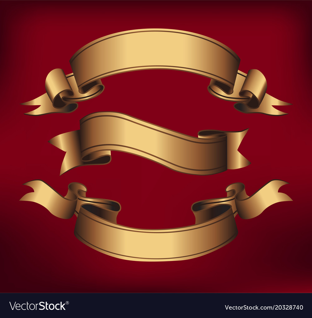 Gold ribbons horizontal banners