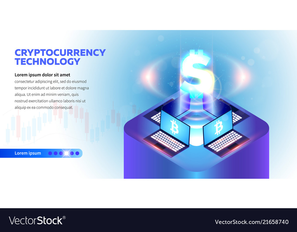 Isometric cryptocurrency banner