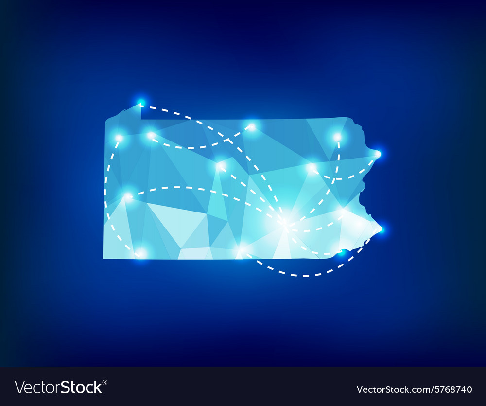Pennsylvania state map polygonal with spot lights