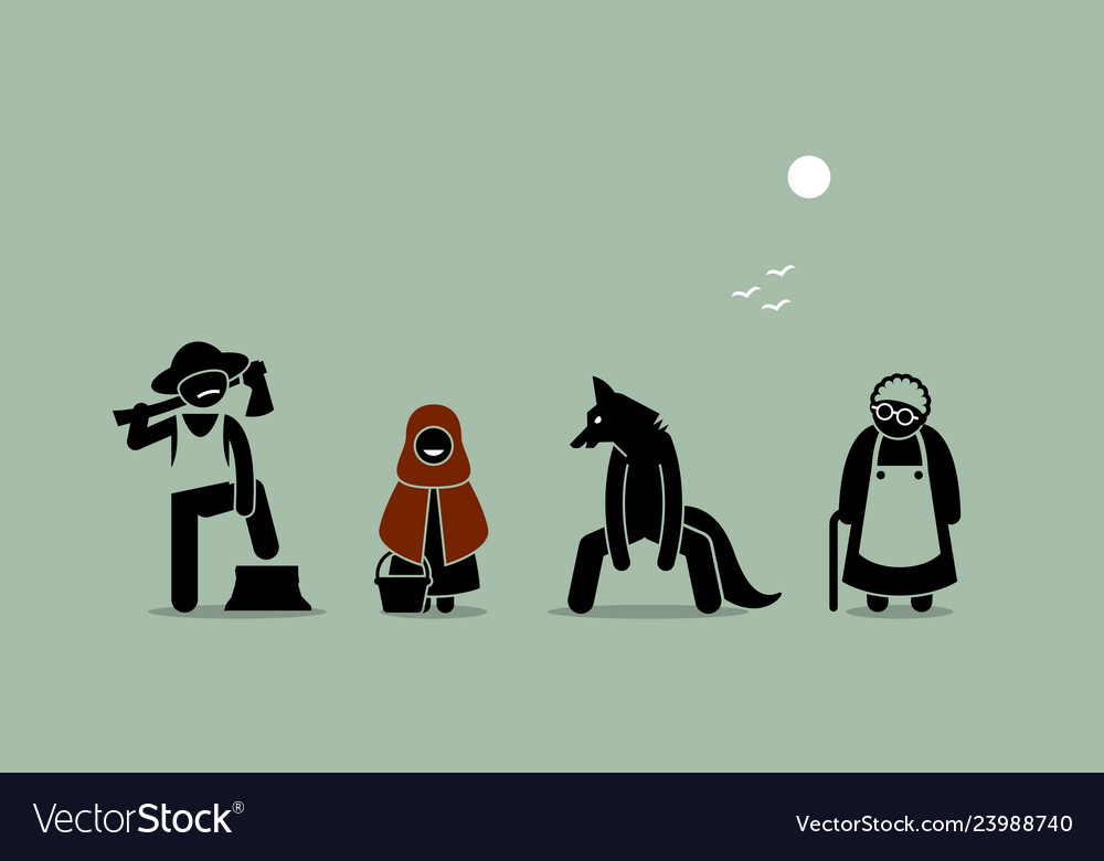 Red riding hood wolf lumberjack and grandmother