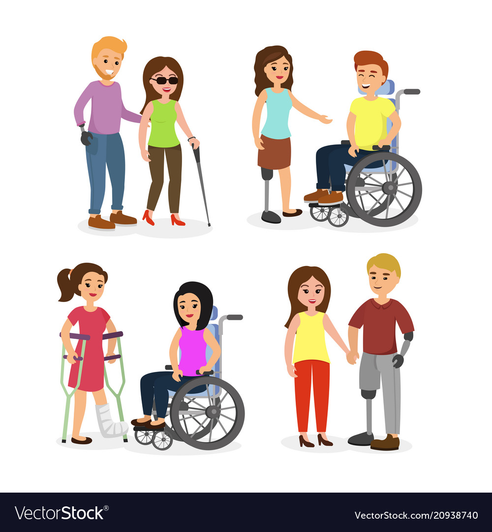 Set of disabled people with