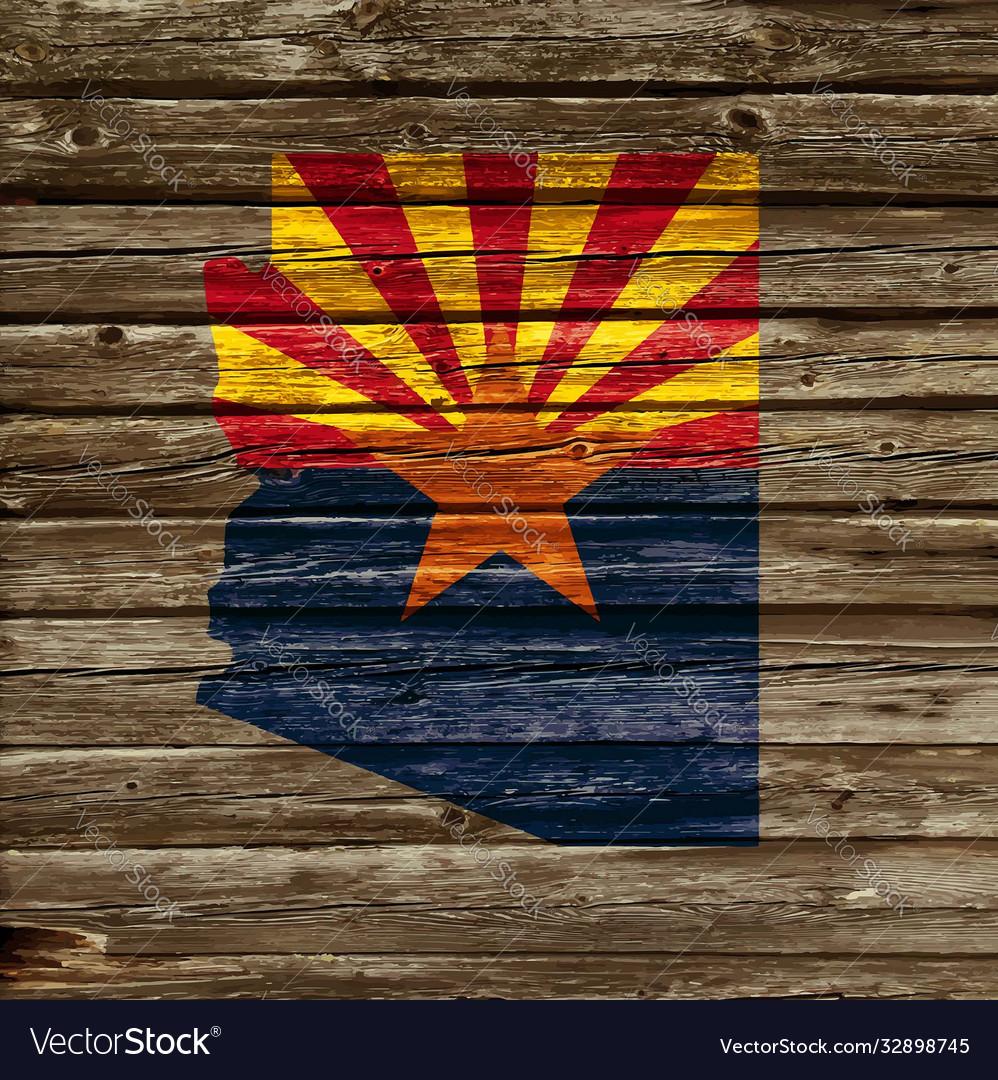 Arizona map flag on old timber wall