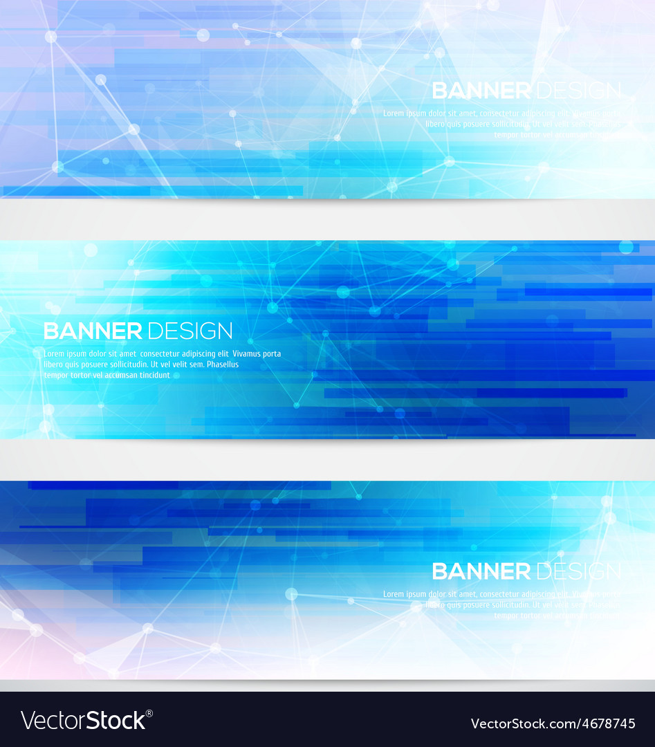 Banners set with polygonal abstract shapes