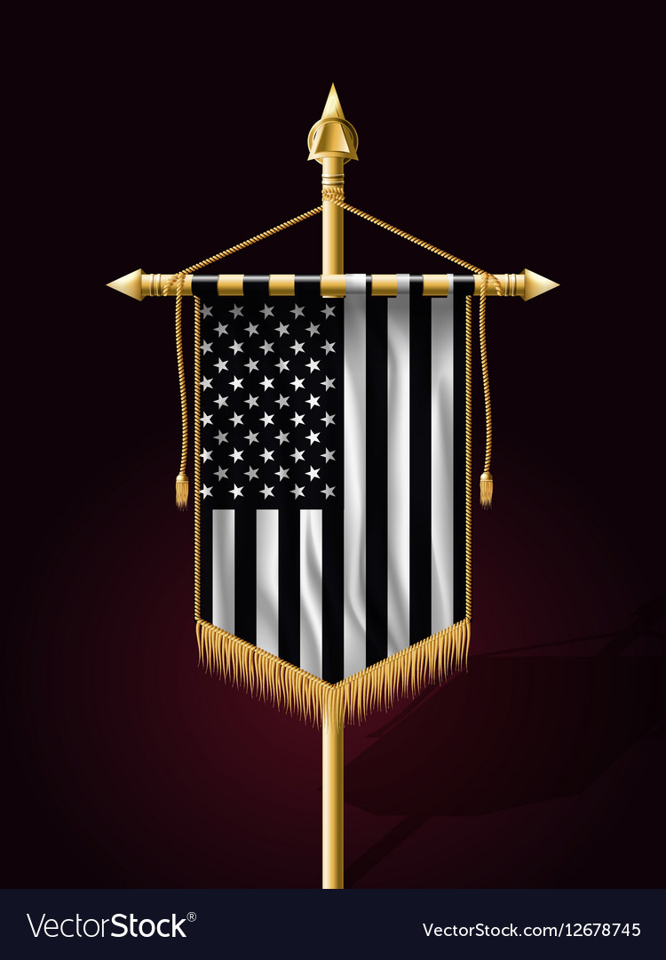 black and white american flag vertical banner vector image
