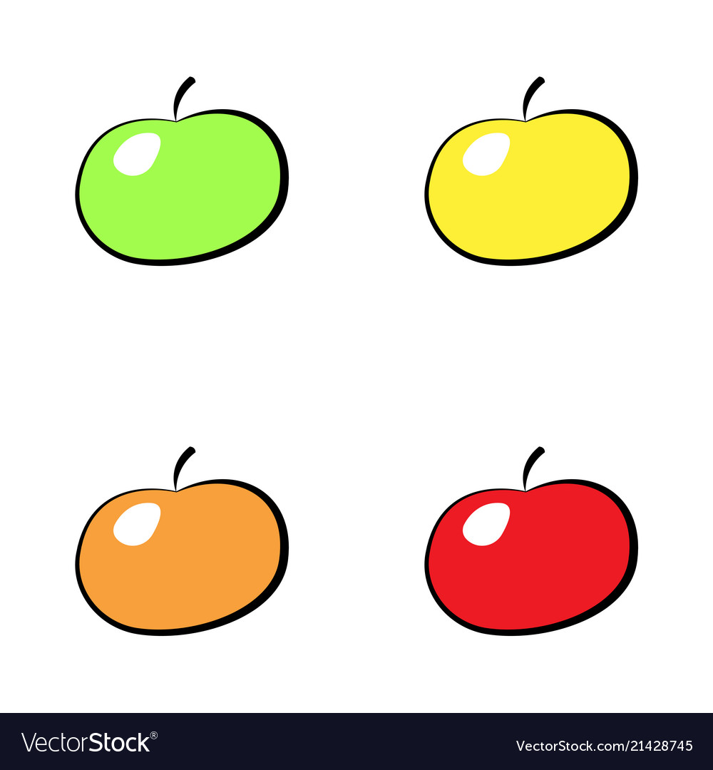 Colorful apple icon set isolated on white