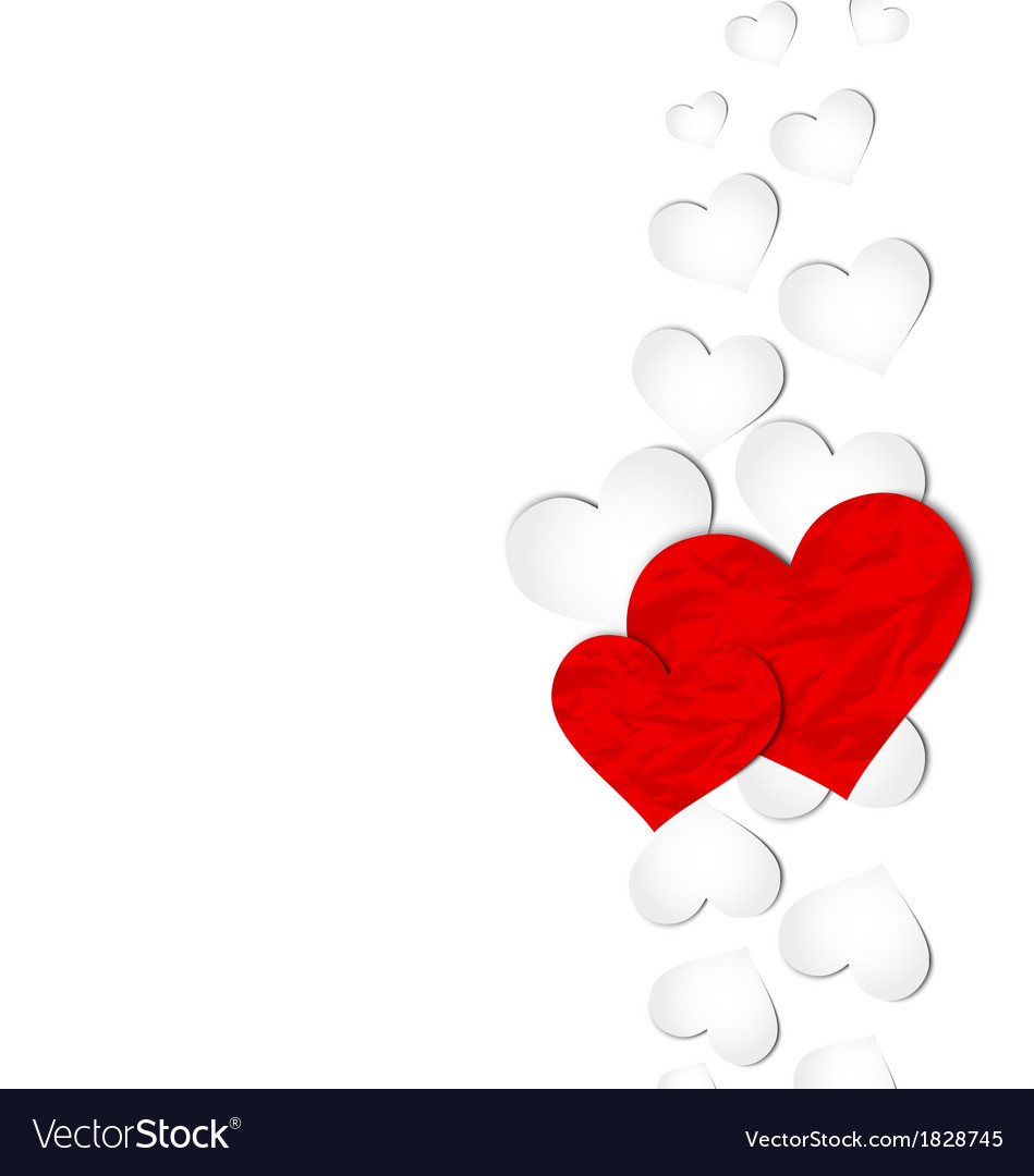 Crumpled paper hearts for Valentines day vector image
