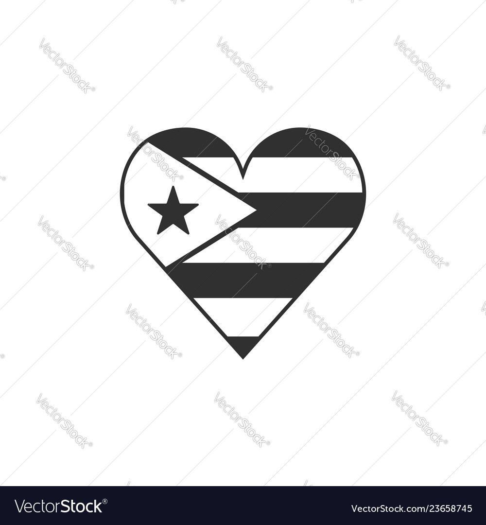 Cuba Flag Icon In A Heart Shape In Black Outline Vector Image