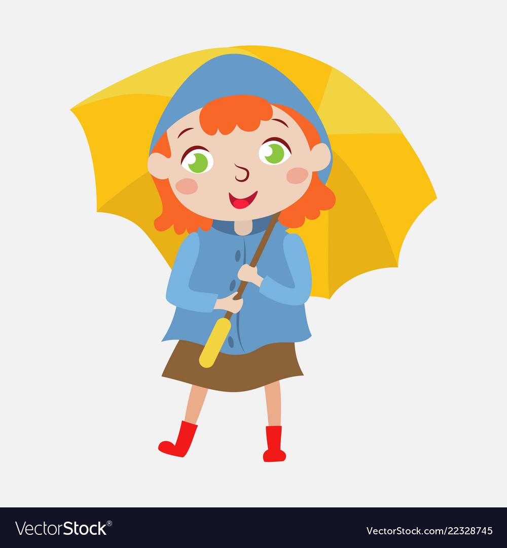 Cute girl with a yellow umbrella