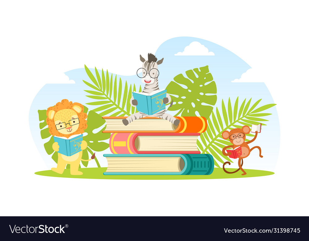 Cute jungle animals in glasses sitting on pile of