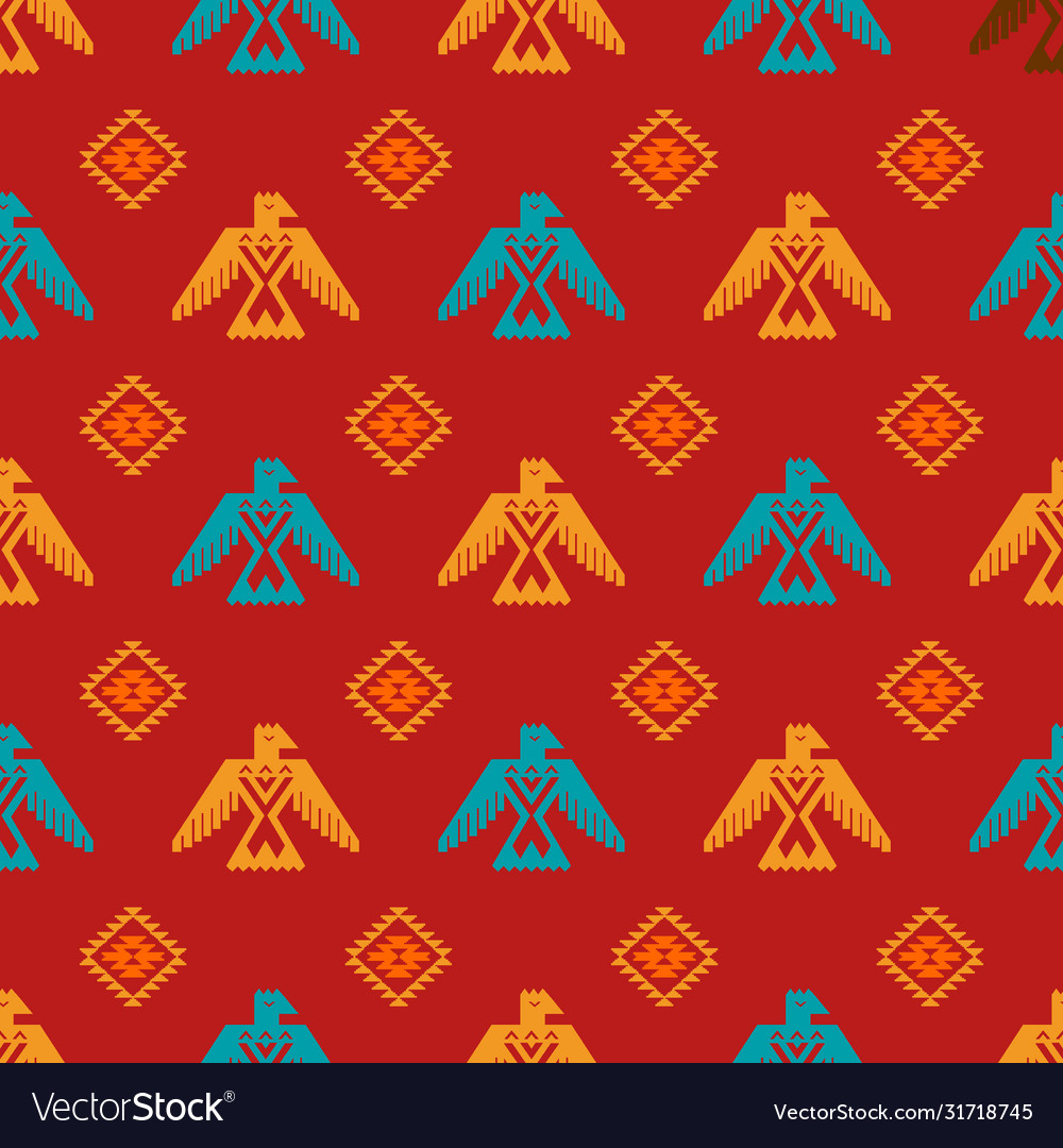Eagles and rhombus seamless pattern