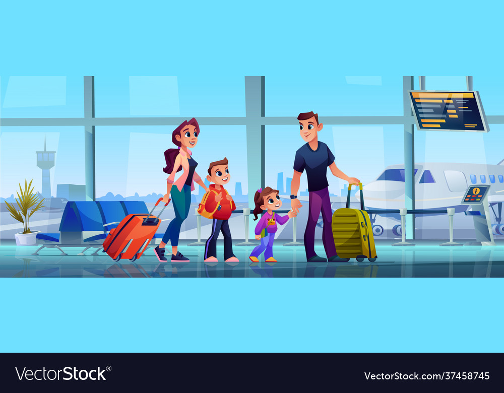 Family in airport terminal parents kids luggage