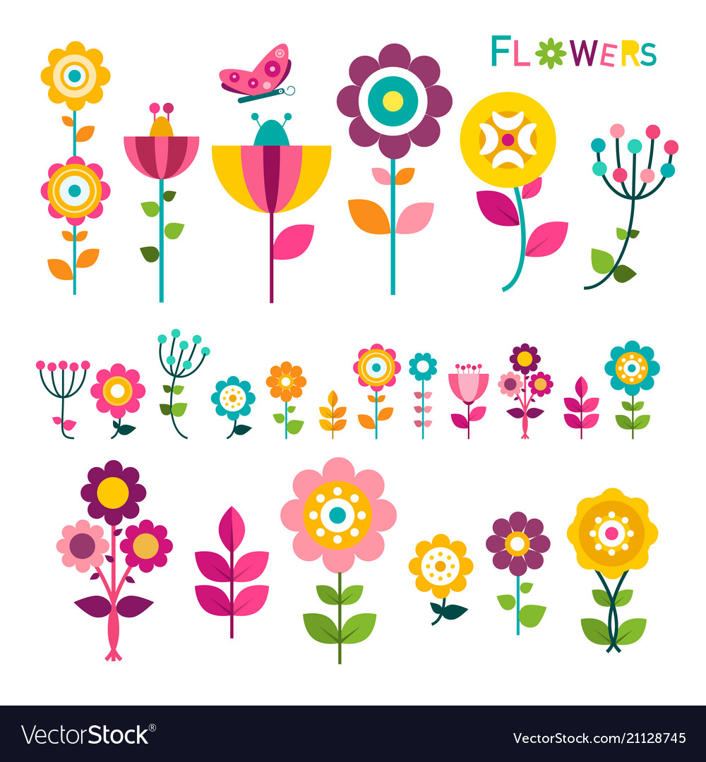 Flat flower colorful spring flowers icons