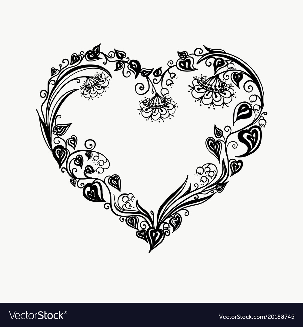 Floral heart bouquet composition with hand drawn vector image
