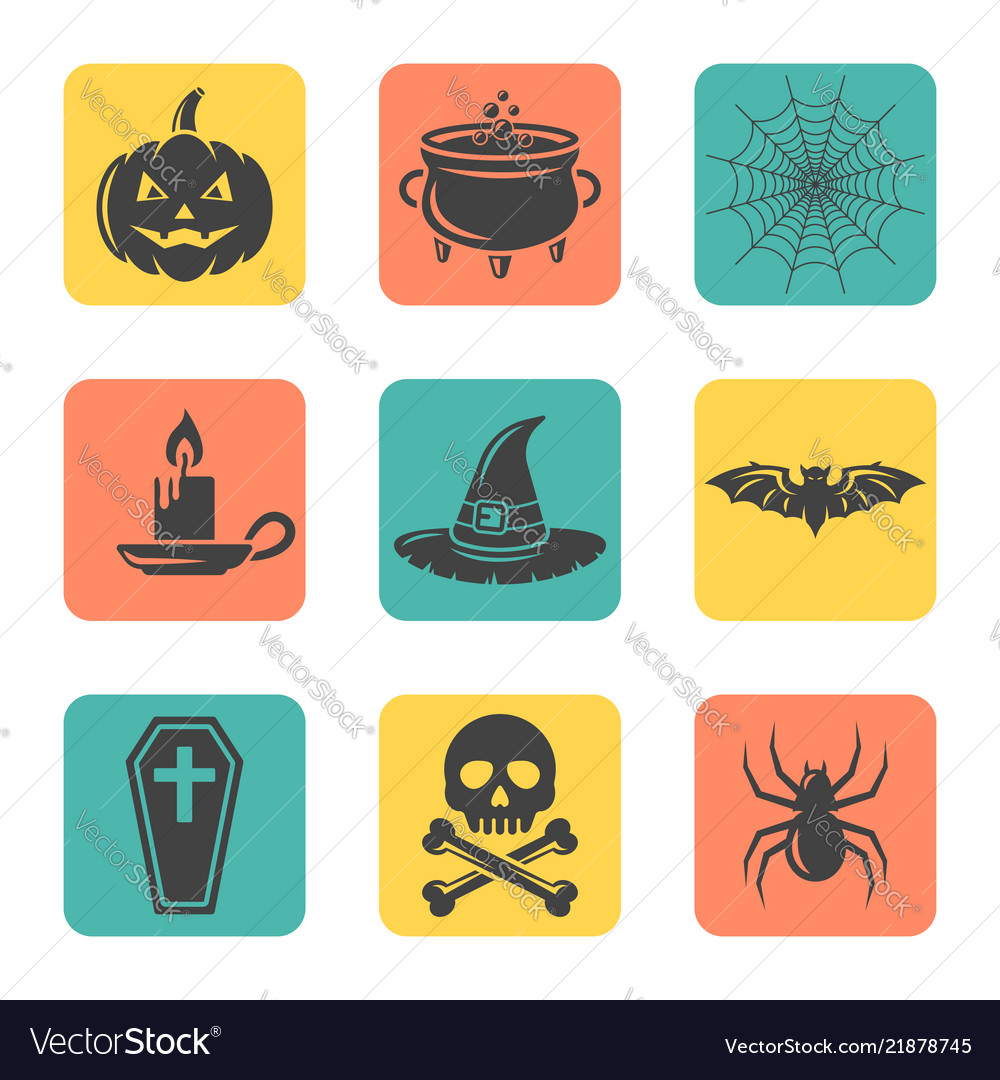 Halloween isolated flat design square icons