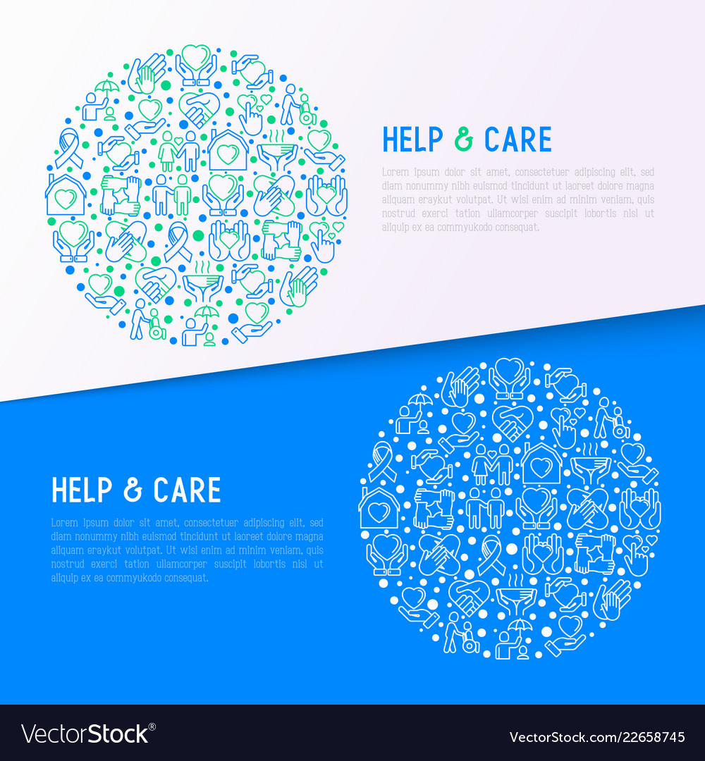 Help and care concept in circle