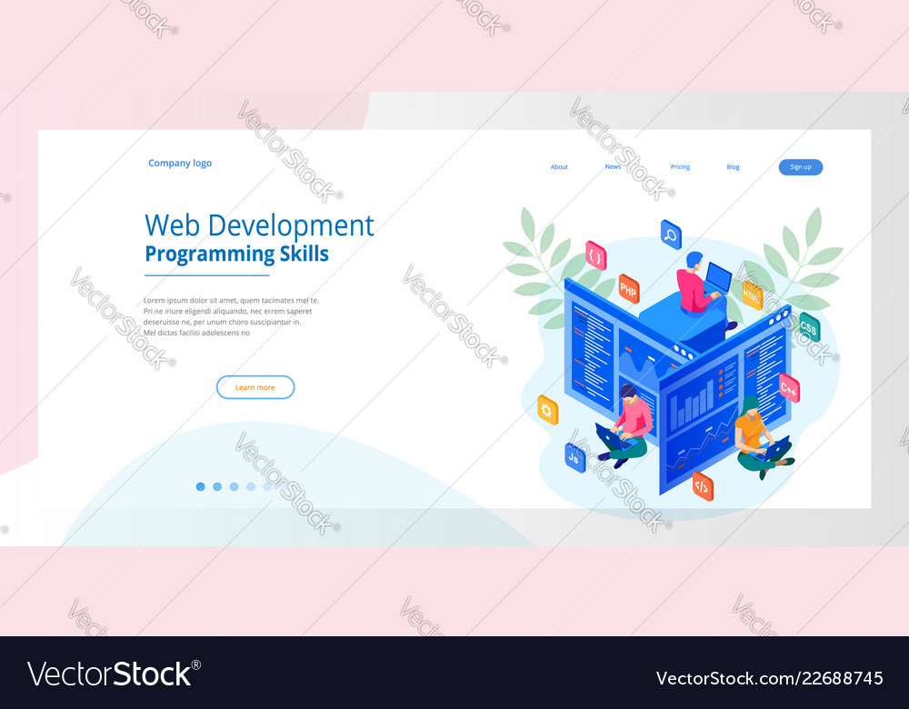 Isometric programmer coding new project web