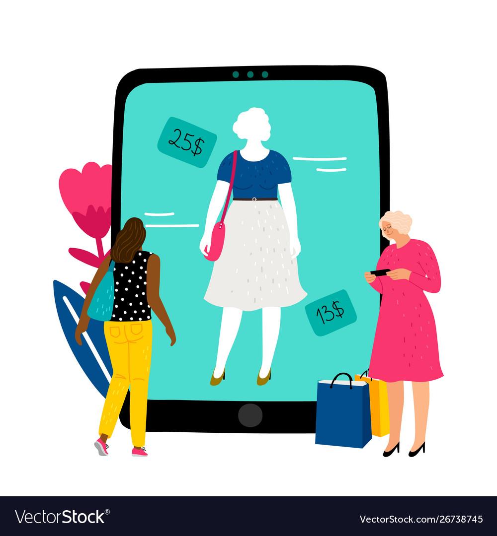 Online fitting room girl chooses dress in online