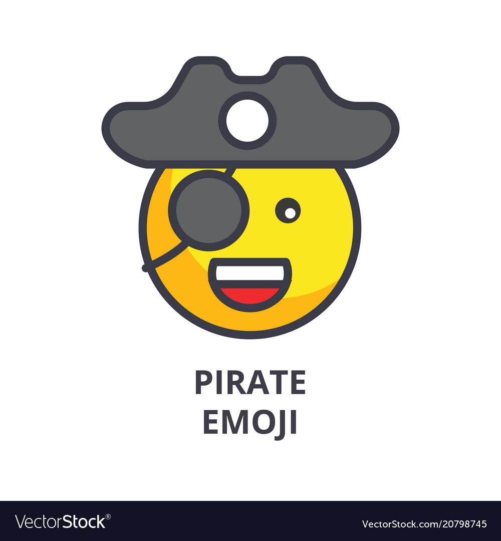 Pirate emoji line icon sign