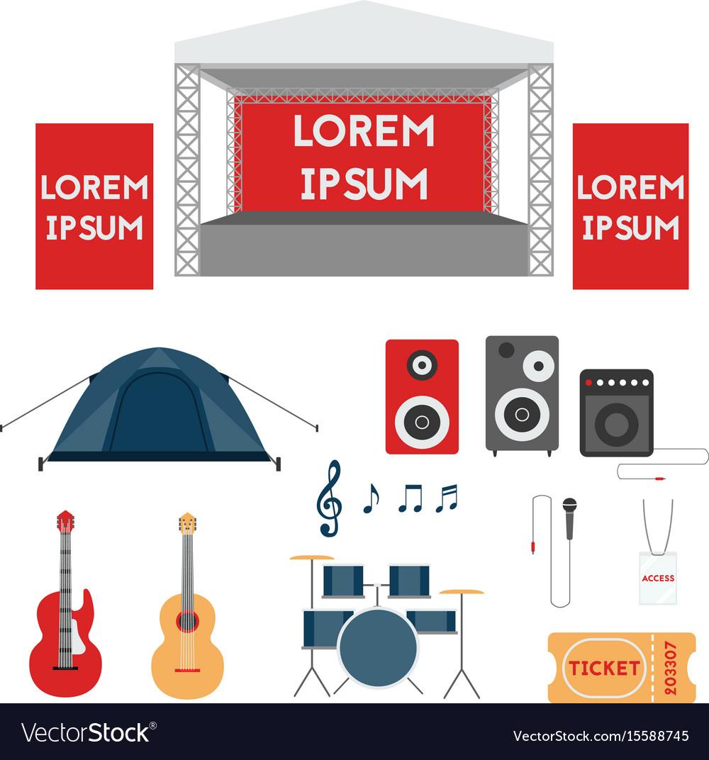 Set of festival or rock music concert elements