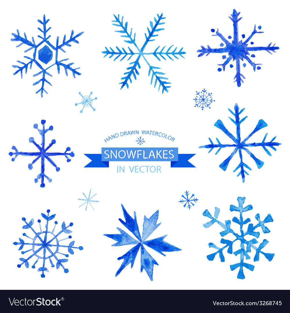Set of Snowflakes - hand drawn in Watercolor vector image