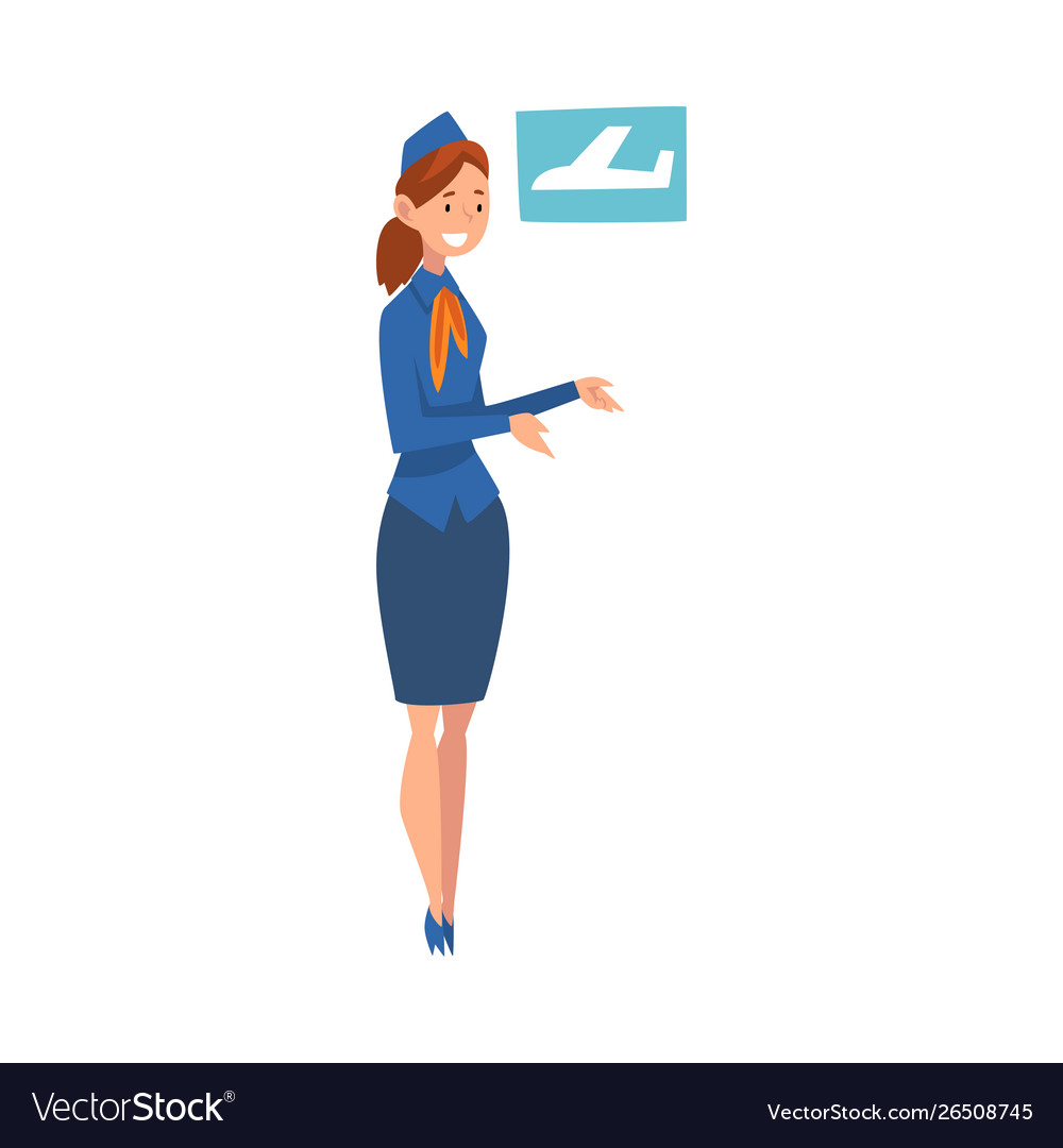 Smiling stewardess character wearing blue uniform