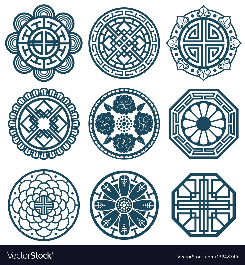 Traditional Korean Symbols Korea Pattern Vector Image