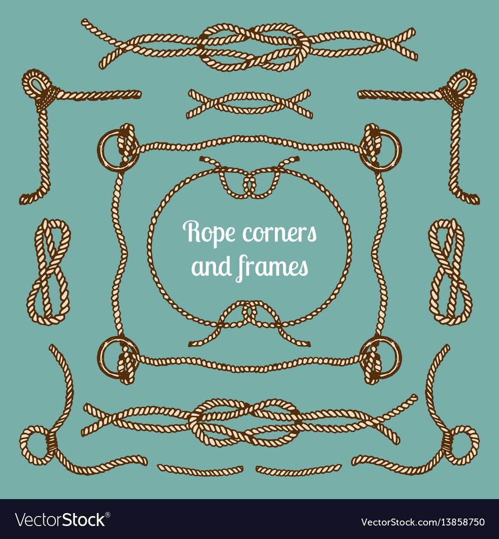Big set of vintage ropes corners and frames vector image