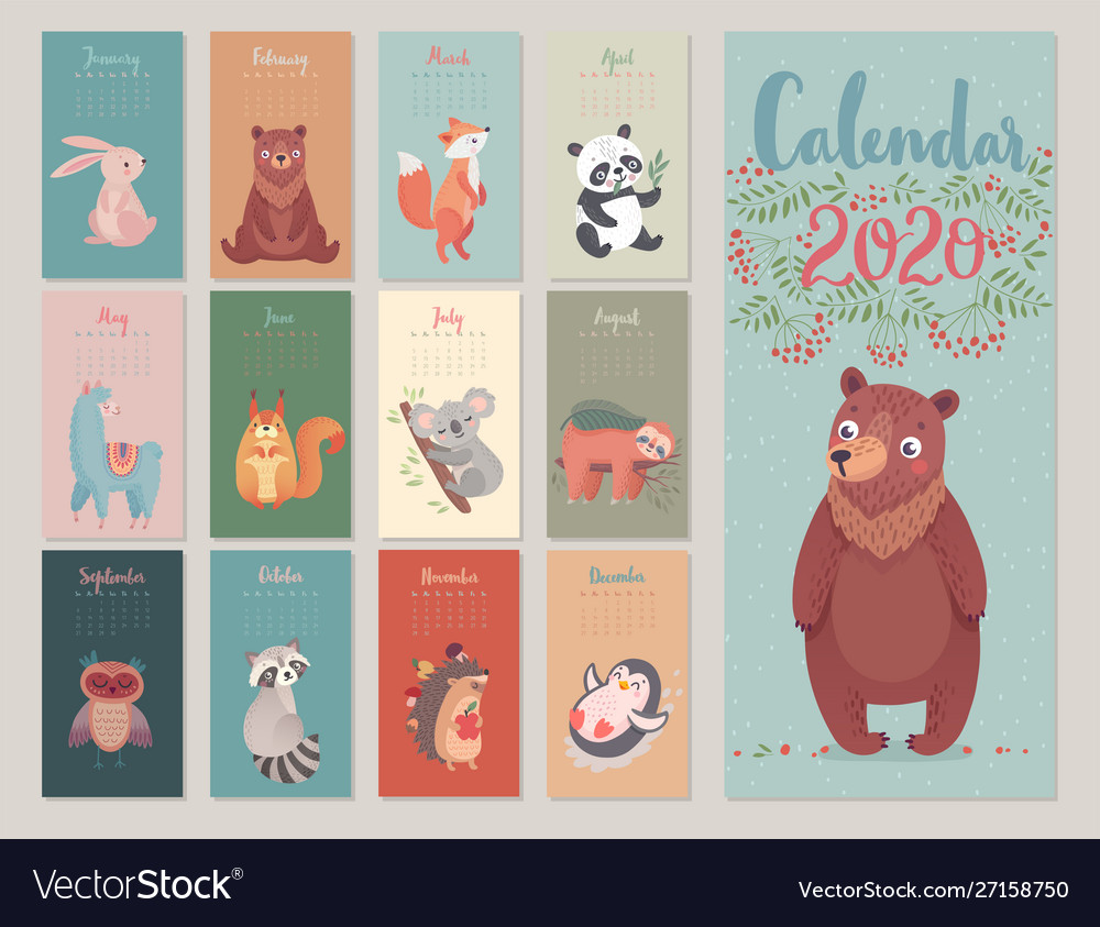 Calendar 2020 with woodland characters cute