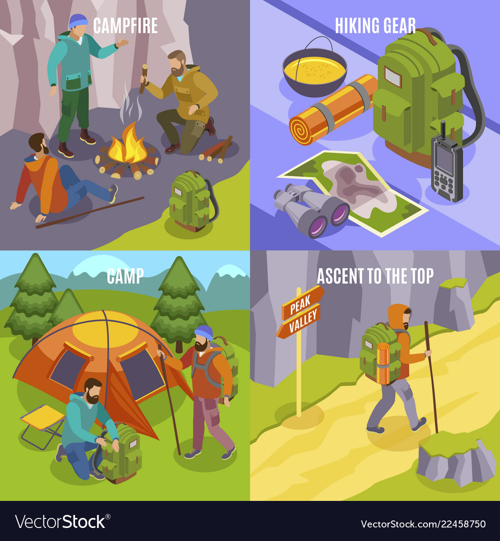 Camping hiking design concept