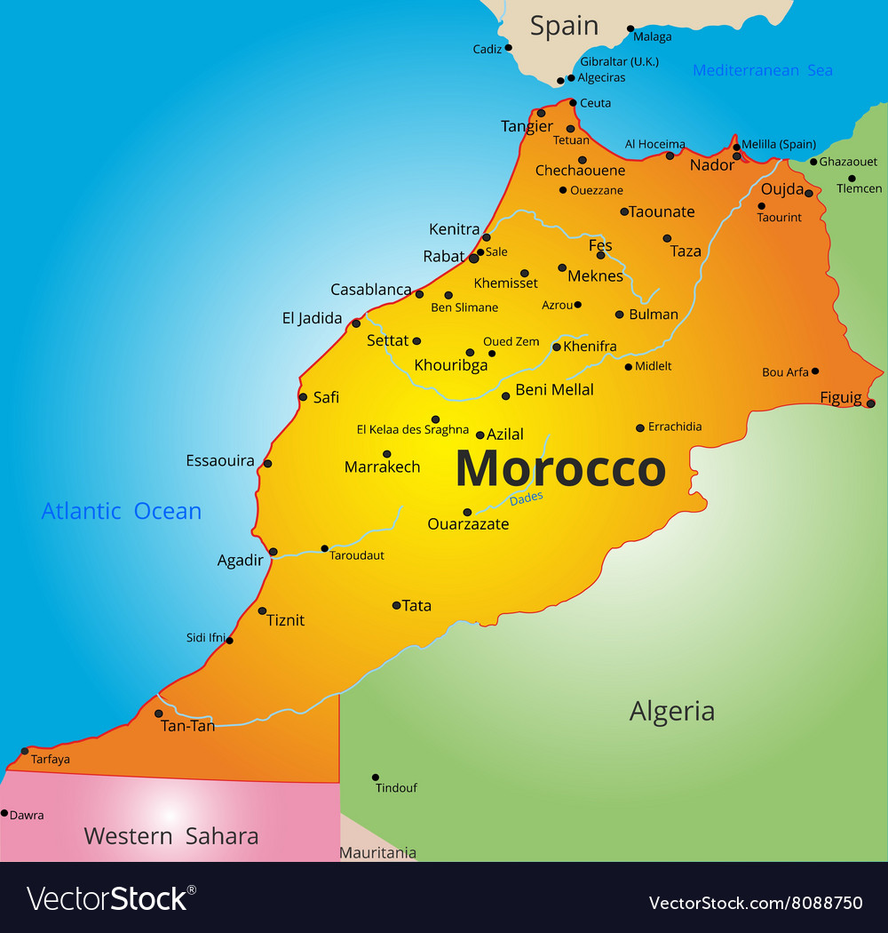 Color map of Morocco country vector image