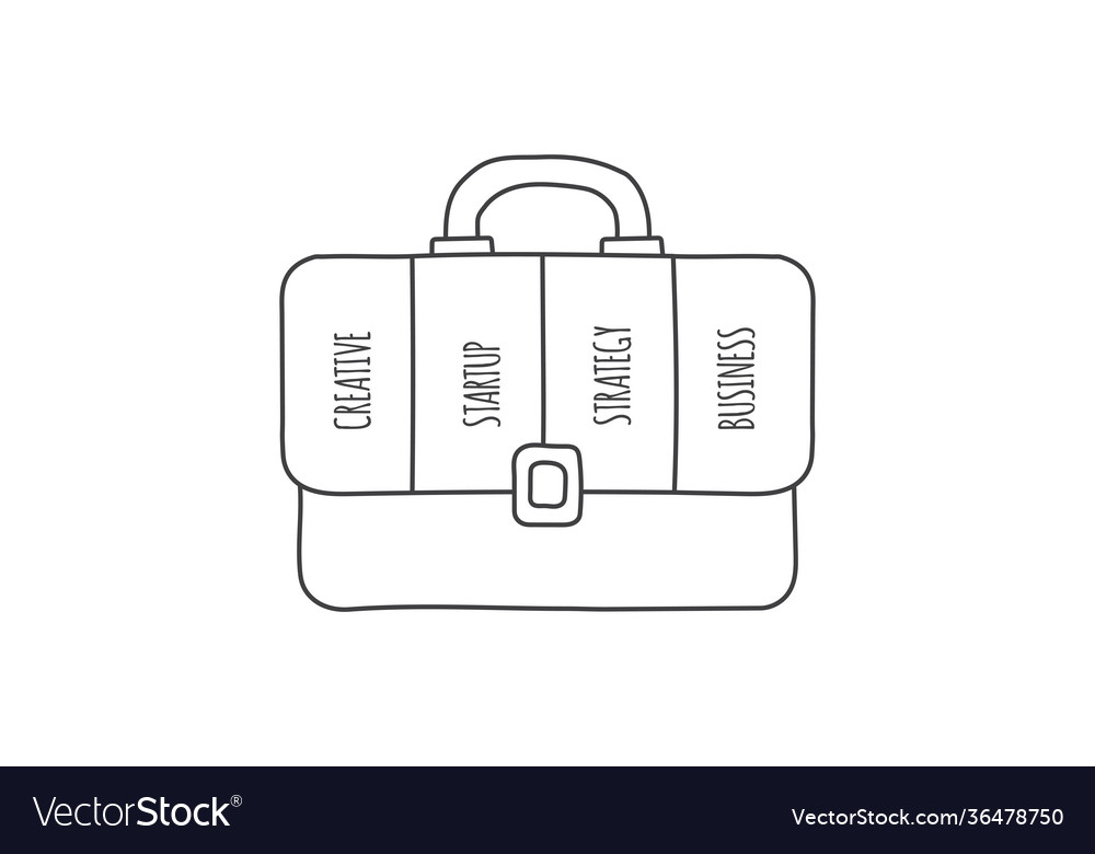 Doodle briefcase infographic with 4 options hand