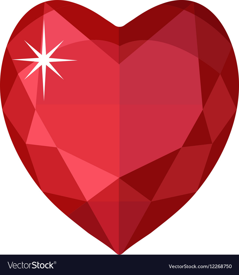 Jewelry heart Gemstones shaped Colorful diamond vector image