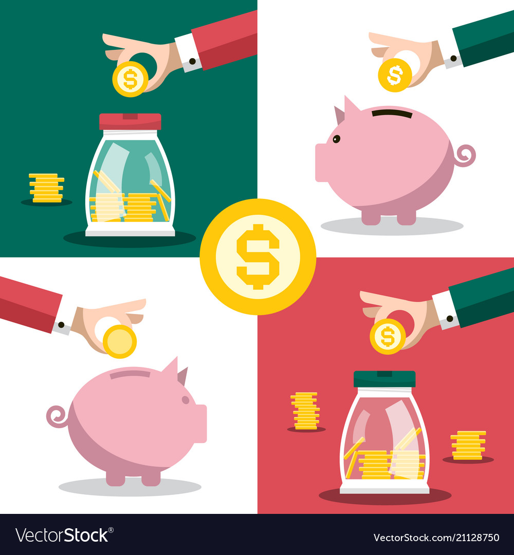 Money symbol business concept with hands and vector image