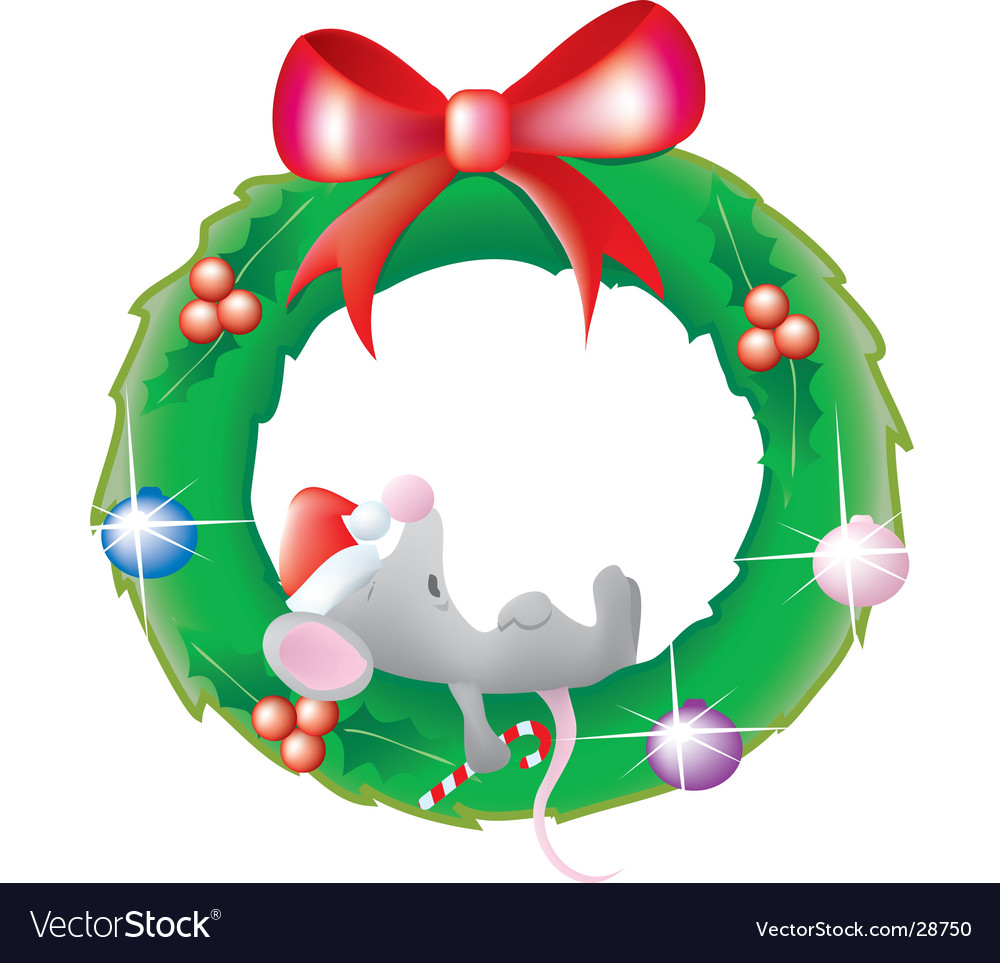 Mouse sleeping in a wreath
