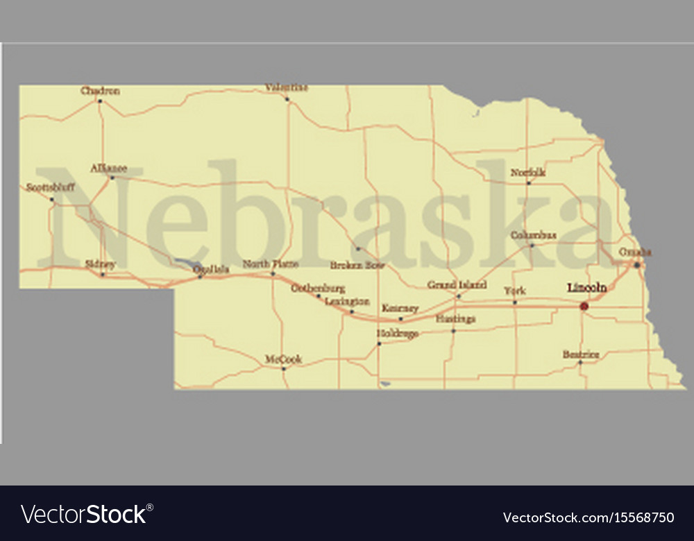 Nebraska State Map With Community Assistance And Vector Image