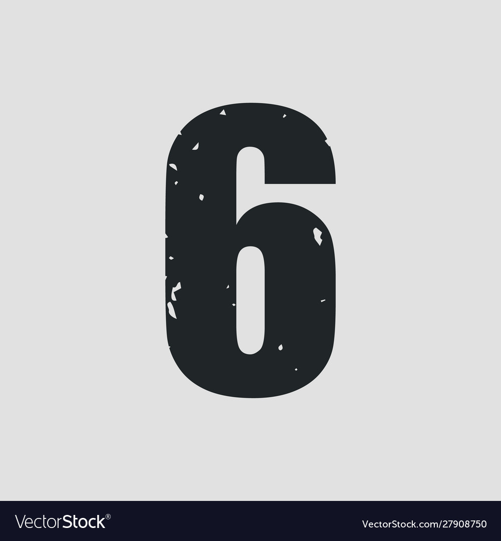 Number 6 grunge style eps10