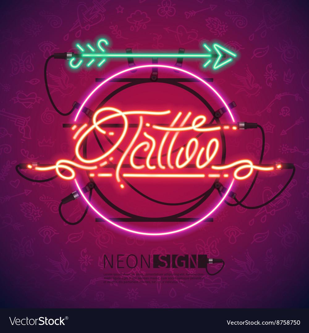 Retro Neon Tattoo Sign with Arrow