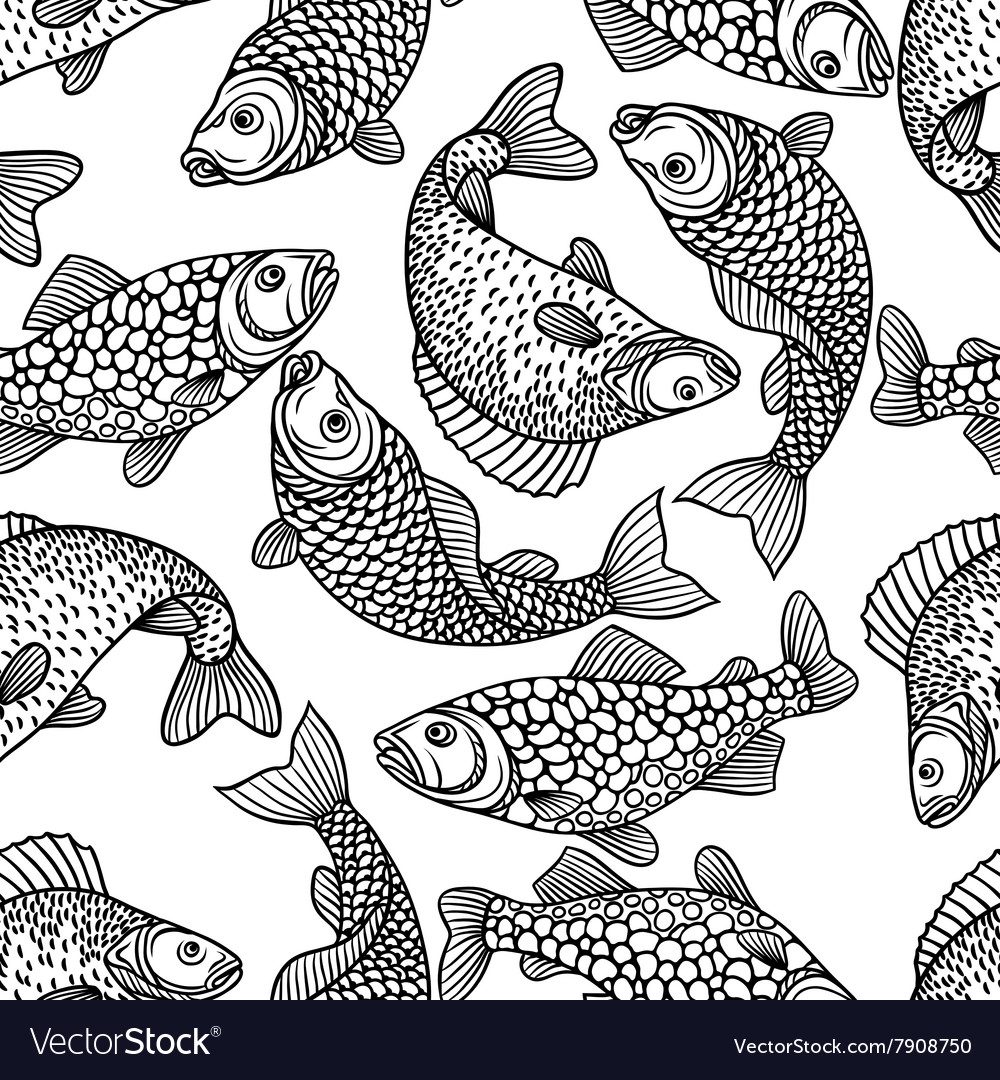 Seamless pattern with decorative fish Background