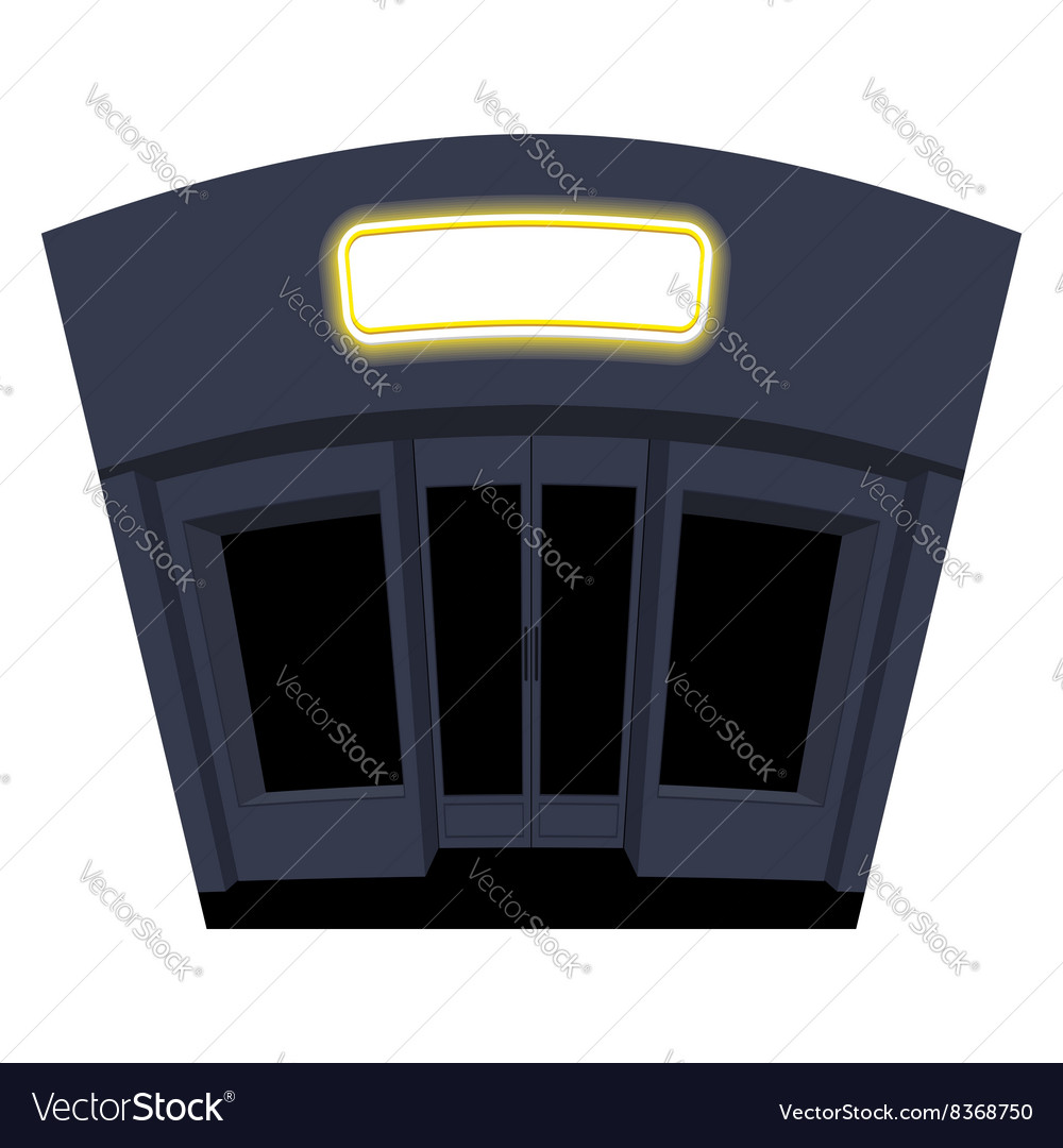 Shop in evening Night storefront Black Windows and vector image