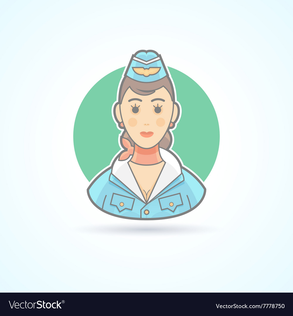 Stewardess air hostess flight attendant icon