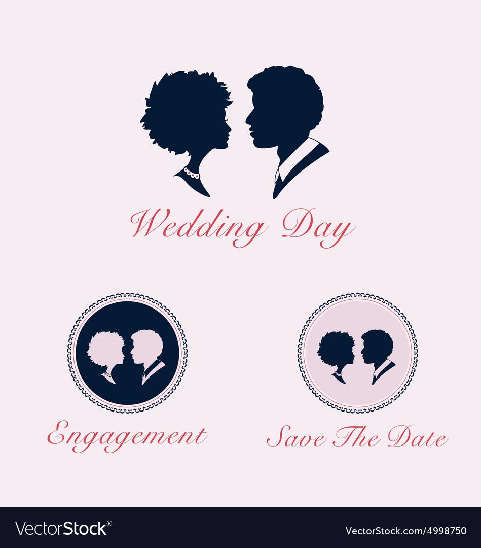 Wedding couple profile silhouette and cameo