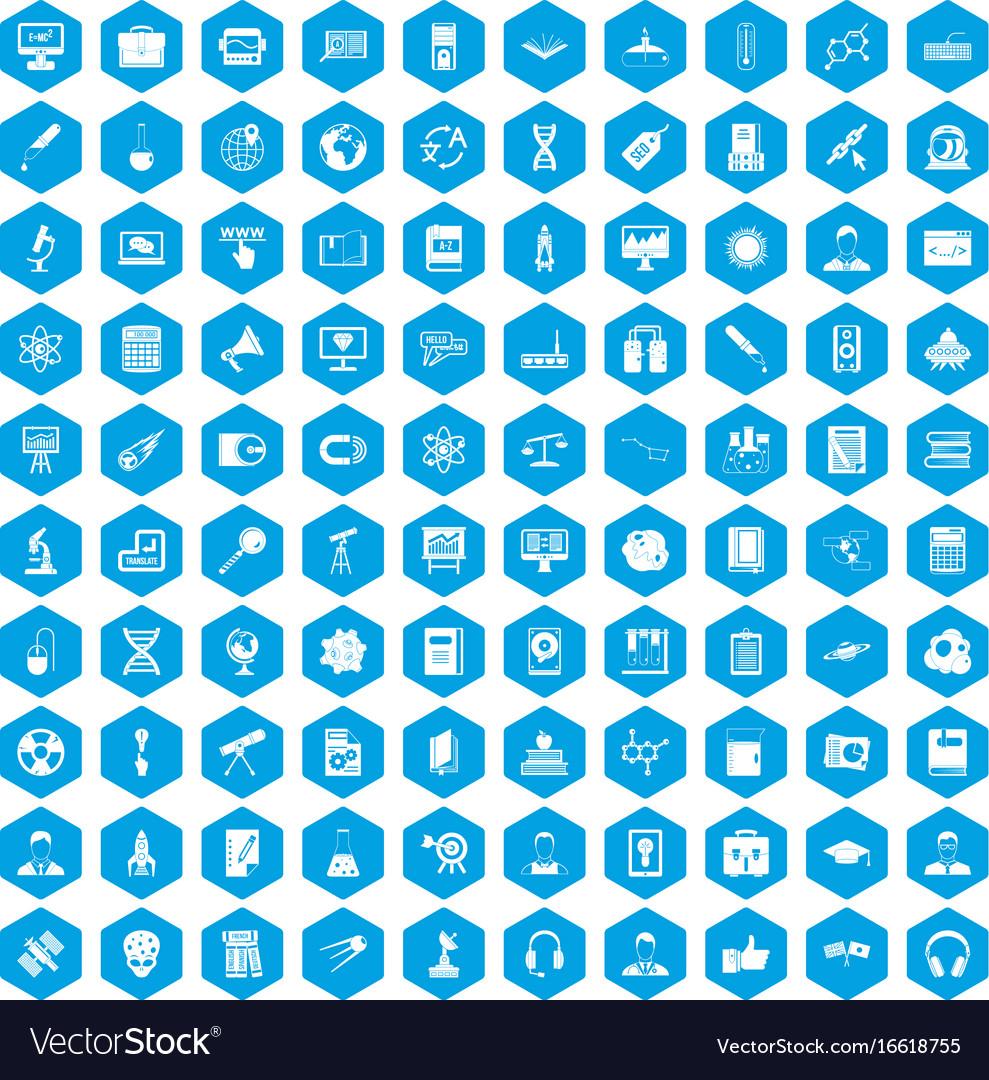 100 researcher science icons set blue