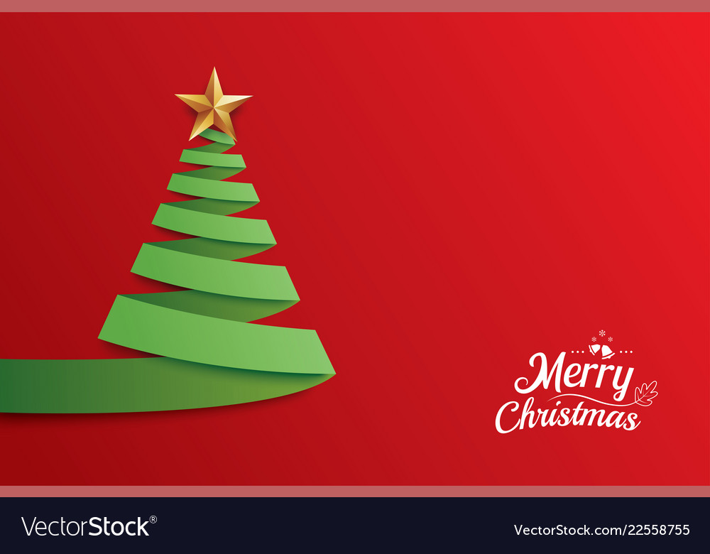 Christmas tree paper art greeting card design